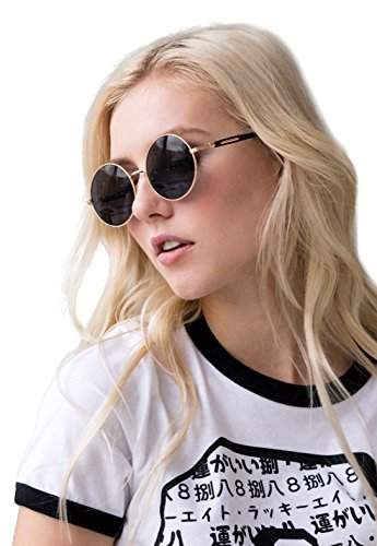 Sunglasses Round - Black Retro Classic Style Eyewear Gold Metal - Sunglasses Round Uk Black