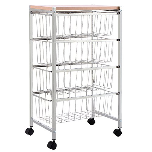 Baskets Storage Rack Trolley Cart Home Kitchen Garage 4 Tier (Maple Wood Message Board)