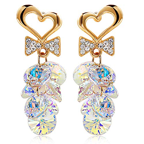 JewelryLand Heart and Bow Cluster Beads Dangle Earrings Made with Swarovski Crystal(White)