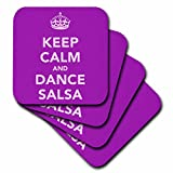 3dRose Keep Calm and Dance Salsa, Purple - Soft Coasters, Set of 8 (CST_163928_2)