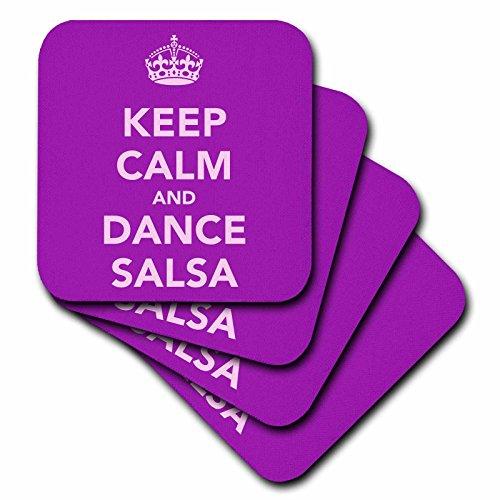 3dRose Keep Calm and Dance Salsa, Purple - Soft Coasters, Set of 8 (cst_163928_2)