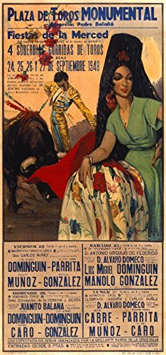 Plaza de Toros - Fiestas de la Merced Vintage Poster (artist: Ruano Llopis) Spain c. 1948 (12x18 Art Print, Wall Decor Travel Poster) by Lantern Press