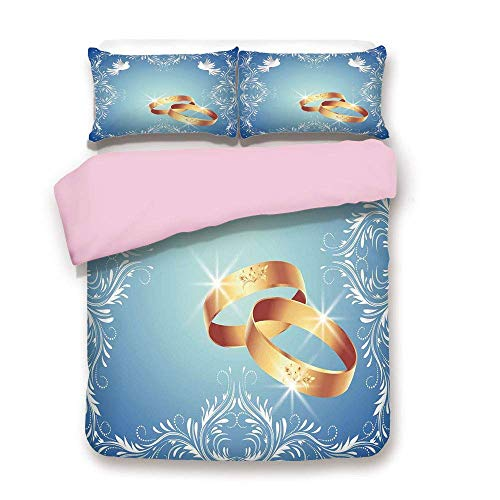 over Set,King Size,Ornament Frame and Two Flying Doves Heart Shapes Wedding Rings,Fashion 3 Piece Bedding Set with 2 Pillow Sham,Best Gift for Girls Women,Blue White Gold ()