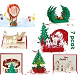 Langxun 3D Greeting Cards - Handmade Merry 3D Christmas Cards for Christmas Decorations and Christmas Greeting - 7 Cards & Envelopes (7 Pack)
