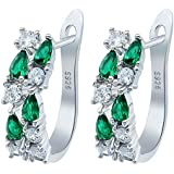 New~ Womens Fashion 925 Solid Silver Emerald Stud Hoop Earrings Bridal Jewelry