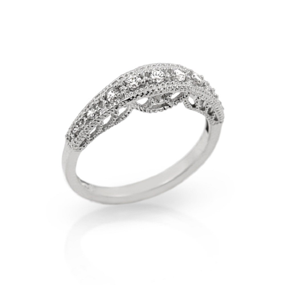 CloseoutWarehouse Sterling Silver Branch Design Wedding Band Ring Rhodium Plated Sterling Silver