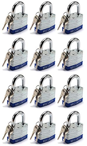 Elitexion Heavy Duty Laminated Steel Padlock, Commercial Grade Keyed Alike 1-Inch (Pack of 12)
