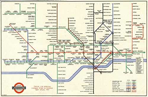 Historic Map | Pocket Map | 1947 London Underground Diagram | Historical Antique Vintage Decor Poster Wall Art | 24in x 36in