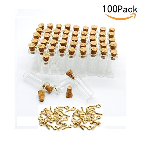 100 Wedding Favors Mini (JKLcom 1ML Small Mini Tall Clear Glass Bottles/Jars with Corks Stoppers for Arts & Crafts, Projects, Decoration, Party Favors+ Gold Metal Eye Hook Pin Screws,100 Pcs)