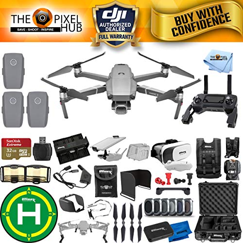 DJI Mavic 2 Pro 3 Battery (Total) MEGA Accessory Bundle with Aluminum Case, Drone Vest, 32GB Micro SD, VR Goggles, Charging Hub, Filter Kit, Landing Pad + Much More ()