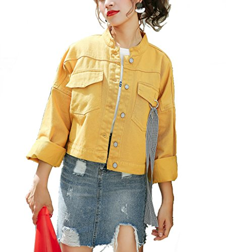 Qinni-shop Women Yellow Pocket Single Breasted Short Denim Jacket Loose Fit Coat (Yellow, US Women-XS) by Qinni-shop
