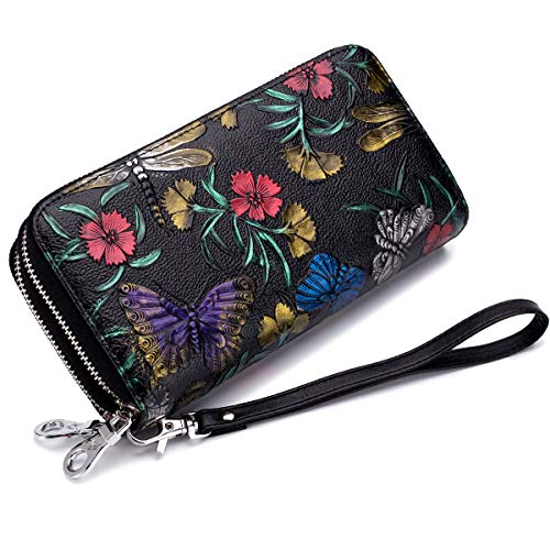imeetu Women RFID Blocking Leather Credit Card Holder case Clutch Bag Wallet Large Wristlet Purses with Zipper Pocket Hand-painted color(Butterfly and ()