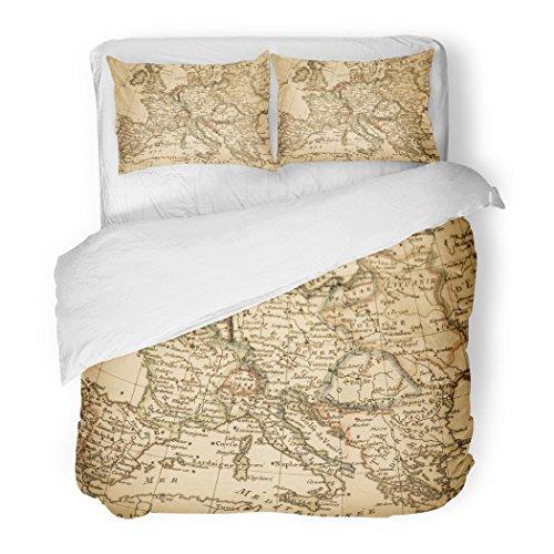 SanChic Duvet Cover Set Italy Antique Old Map Europe France Spain Mediterranean 18Th Century Decorative Bedding Set Pillow Sham Twin Size by SanChic