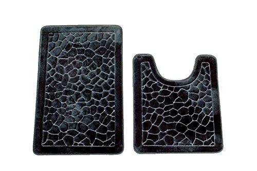 2 Piece Set Memory Foam Bath Mat-Rectangle,Contour Mat,Non Slip Soft Microfiber Maximum Absorbency,Super Comfortable (Black) - Two Piece Toilet Set