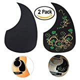 Creanoso Acoustic Guitar Pickguard Scratch Plates (2 Pack) - Green Floral and Classic Black - Cool Guitar Accessories Gifts