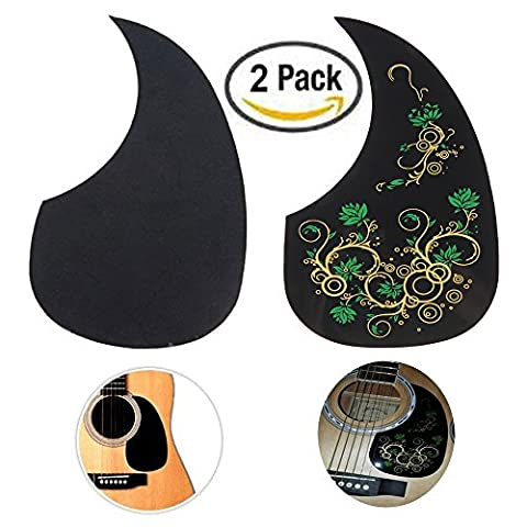 Creanoso Acoustic Guitar Pickguard Scratch Plates (2 Pack) - Green Floral and Classic Black - Cool Guitar Accessories (Acoustic Classic)