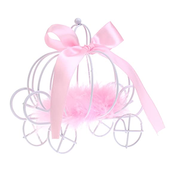 Gazechimp Cajas de Caramelo de Dulce de Metal Diseño con Carro de Calabaza Accesorio Decorativo de Mesa de Boda de Cumpleaños 3 Colores - Rosado: Amazon.es: ...