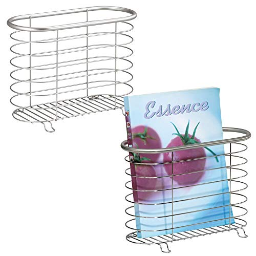 mDesign Decorative Metal Farmhouse Magazine Holder and Organizer Bin - Standing Rack for Magazines, Books, Newspapers, Tablets in Bathroom, Family Room, Office, Den - 2 Pack - Brushed