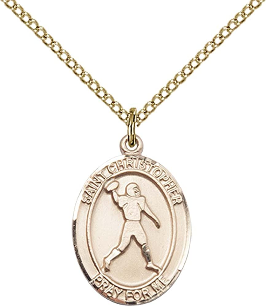 14kt Gold Filled St Christopher//Football Pendant with 18 Gold Filled Lite Curb Chain Patron Saint of Travelers//Motorists