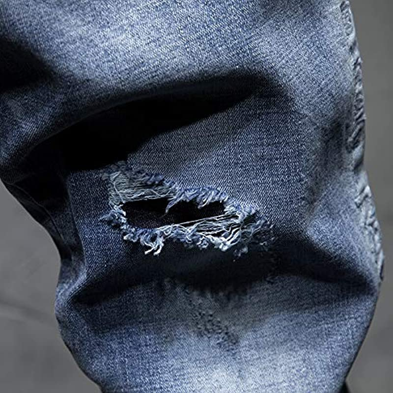 Męskie Jeans Slim Fit Elastic Ripped Pants Męskie Streetwear Hosen: Odzież