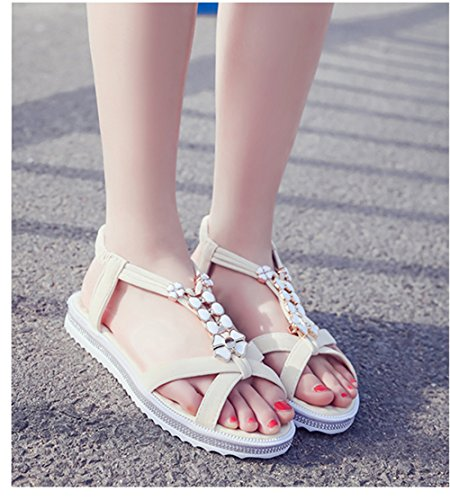 Scothen Las mujeres de las sandalias romanas Sandalias Sandalias de cuña tirón del verano zapatos planos del estilo de Bohemia diamantes de imitación Roman del tobillo Trenzado T-Correa sandalias Beige