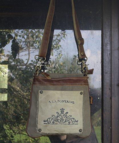 Sunsa Damen kleine Umhängetasche Schultertasche Crossbody Tasche Canvastasche in retro Style Vintagetasche