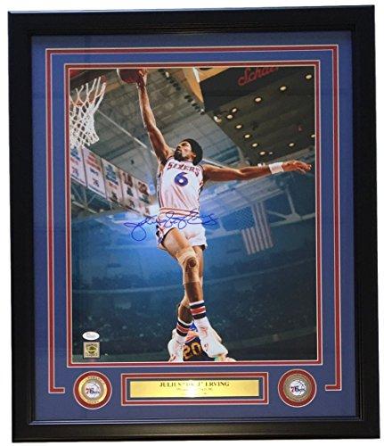 Julius Dr. J Erving Signed Framed 16x20 Philadelphia 76ers Dunk Photo JSA