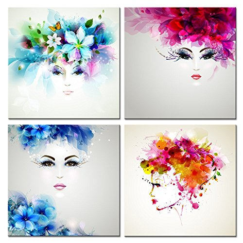 Live Art Decor - Creative Abstract Women Face Canvas Prints,Beautiful Flowers and Butterflies in Girl Hair Wall Art,Gallery Wrap Artwork Ready to Hang,Modern Home Wall Decor