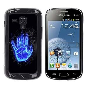 Be Good Phone Accessory // Dura Cáscara cubierta Protectora Caso Carcasa Funda de Protección para Samsung Galaxy S Duos S7562 // Flaming Blue Hand