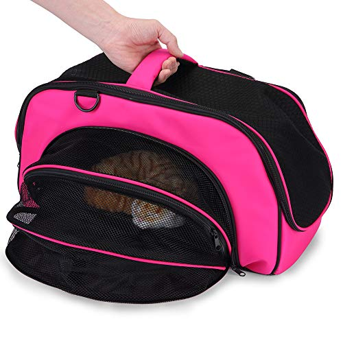 LIFE TRACE Pet Carrier Soft-Sided Handbag for Small Cats and Dogs Carrier Portable Pet Travel Bag Airline Approved Bag with Thick Cotton Pad Magenta Color Adjustable Washable Car Use