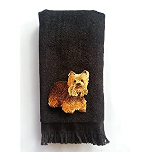 Yorkie Fingertip Hand Towel Vintage Applique Black Yorkshire Terrier dog 1