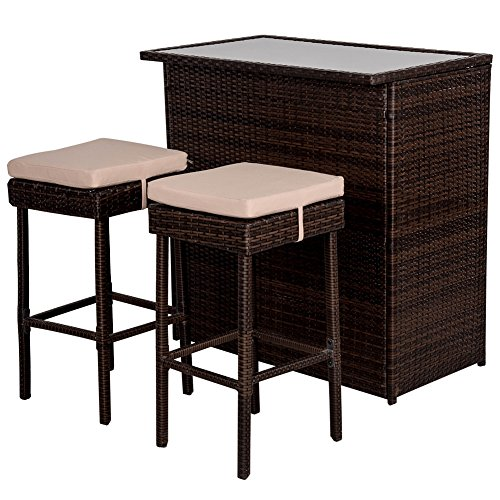 Sundale Outdoor Deluxe 3PC Rattan Wicker Bar Set with Cushions, Bar and 2 Stools Set by Sundale Outdoor
