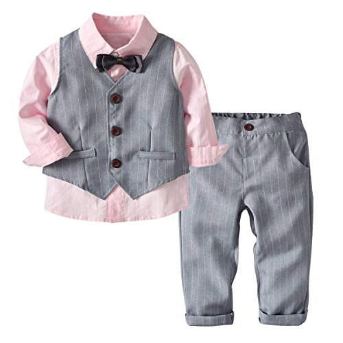 Kid Boy Formal Suit Long Sleeve Shirt with Bow Tie + Waistcoat + Long Pants 3Pcs (Pink + Grey, -