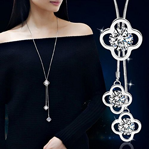 Rurah Zircon Fringed Clover Sweater Chain Necklace Pendant Women Girl Ornaments Fashion with Clothing Accessories