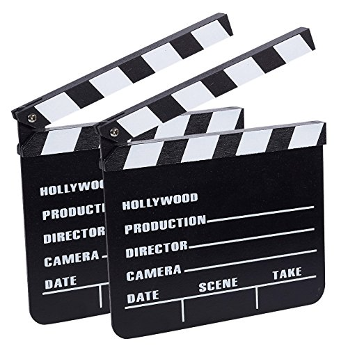 (Clapper Board - 2-Pack Movie Clapboards, Hollywood Director Film Slate for Movie Scene Production Decoration Prop, Black, 8 x 0.5 x 7.25)