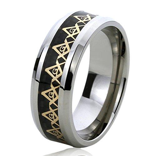 Masonic Wedding Rings (8MM Titanium Comfort Fit Wedding Band Ring Yellow Tone Masonic Symbol Inlayed Band (6 to 14) - Size:)