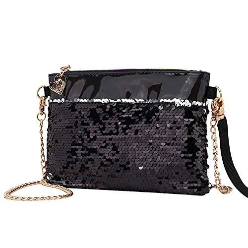E-Clover Magic Reversible Sequins Clutch Purse Wallet for Women Gold Chain Crossbody Shoulder Bag(Black)