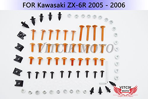 VITCIK Full Fairings Bolt Screw Kits for Kawasaki ZX6R ZX-6R Ninja 636 2005 2006 05 06 Motorcycle Fastener CNC Aluminium Clips (Orange & Silver)