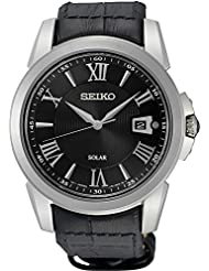Seiko SNE397 Mens Le Grand Sport Black Leather Strap Band Black Dial Watch