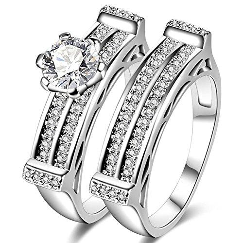 TEMEGO 14k White Gold Engagement Ring Wedding Band Set,Halo 2 Row Small CZ Micro Pave Bridal Ring Sets -