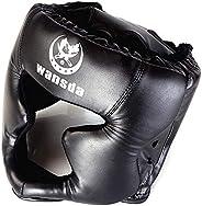 Boxing Protective Gear, Adjustable Adult and Child Combat Training Helmet, 17x24cm,Benrenshangmao (Color : Bla