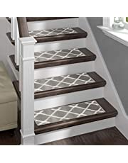 Sofia Rugs Shaggy Stair Treads - Willow - Carpet Runner Strips for Staircase Steps - Set of 13 - Rug-Soft Fabric for Traction and Non-Slip Improvement - Includes Double Sided Adhesive Tape
