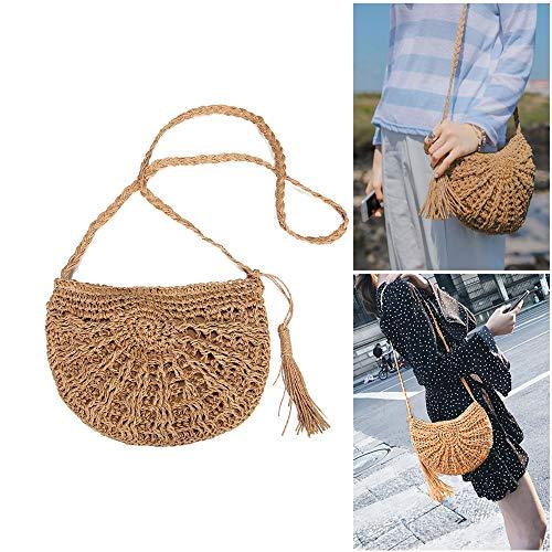 Handmade Style woven Woven Braided Retro bag Bag Bag straw bag Shoulder Pure Straw Shoulder New Bag weaving Handbags Travel Sling bag Sx5nI