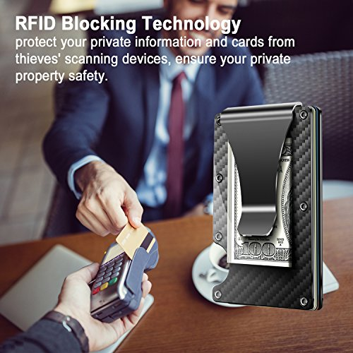 Carbon Fibre Wallet Slim Money Clip  Minimalist RFID Blocking Front Packet Slim Wallet Aluminum