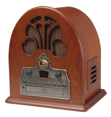 Crosley CR32CD Cathedral Retro AM/FM Radio and CD Player with Full-Range Stereo Speakers, Paprika (Unit Vintage Looking Tv)