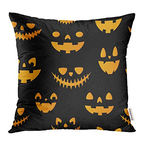 Emvency Decorative Throw Pillow Case Cushion Cover Halloween Autumn Fall Cute with Pumpkins All are Hidden Under Mask Not Cropped 20x20 Inch Cases Square Pillowcases Covers Two Sides -