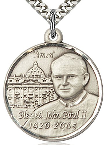 - Men's Round Sterling Silver Pope John Paul II Vatican Medal + 24 Inch Endless Rhodium Plated Chain
