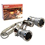 HQRP 3 x 25 Opera Glasses Binocular w/ Crystal Clear Optic (CCO) Platinum Pearl with Silver Necklace Chain