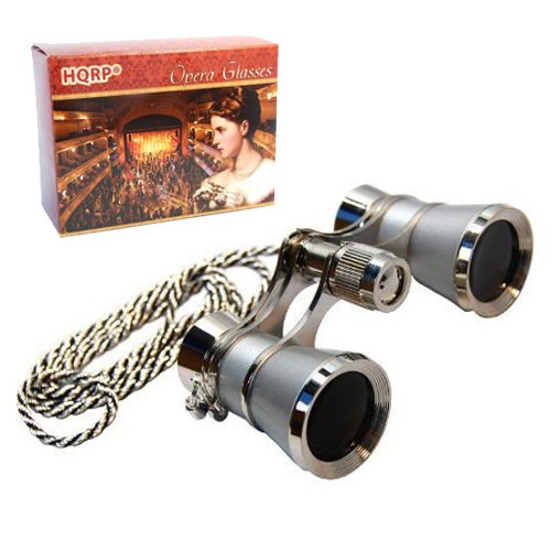 HQRP 3 x 25 Opera Glasses Binocular w/Crystal Clear Optic (CCO) Platinum Pearl with Silver Necklace Chain