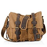 EUBEST Leather & Canva Mens Handbag Messenger Single Shoulder Bag School Bag Khaki